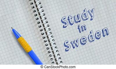 Study in Sweden - Text Study in Sweden handwritten on sheet...