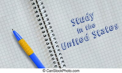 Text Study in the United States handwritten on sheet of notebook and animated.