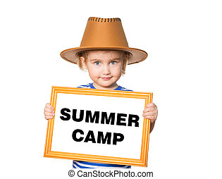 Text summer camp. - Little Funny girl in striped shirt with...