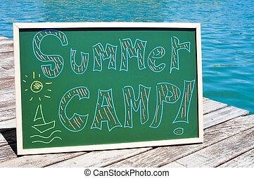 text summer camp written in a chalkboard - the text summer...