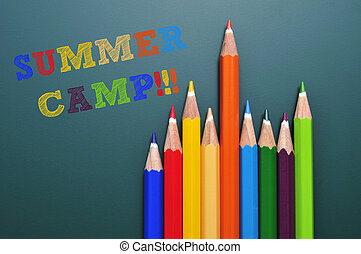 summer camp - text summer camp written on a chalkboard and...