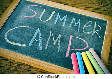 summer camp - text summer camp written with chalk on a...
