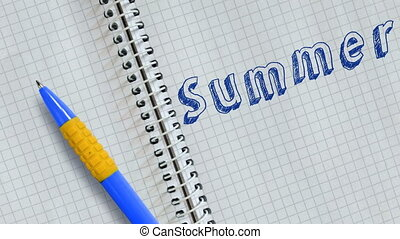 Summer - Text Summer handwritten on sheet of notebook and...