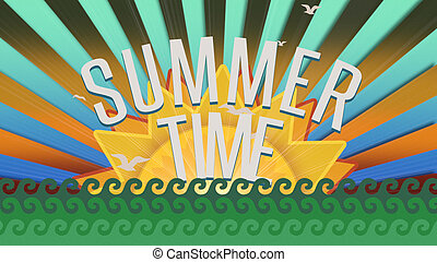 Text Summer Time with sea waves and sun rays, summer background