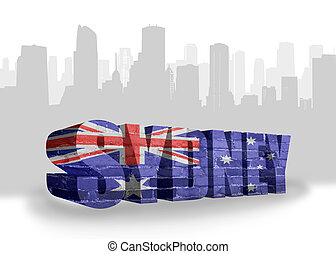text Sydney with national flag of australia near abstract...