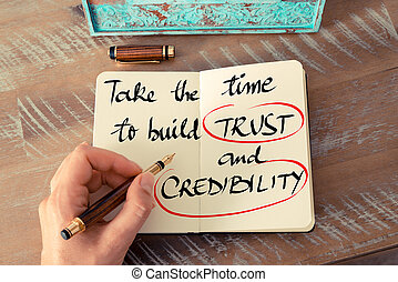 Text Take The Time To Build Trust and Credibility - Retro...