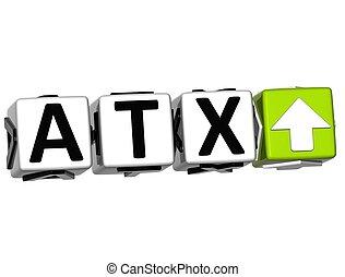 text, taste, hier, atx, klicken, block, 3d