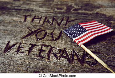 text thank you veterans and the flag of the US - the text...