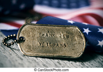 text thank you veterans in a dog tag - closeup of a rusty...