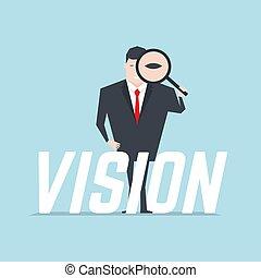 text., titta glas, genom, holdingen, affärsman, förstorar, vision