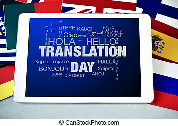 text Translation Day in a tablet computer - the text ...