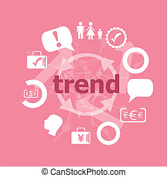 Text trend. Business concept . Set of flat icons for mobile app and web