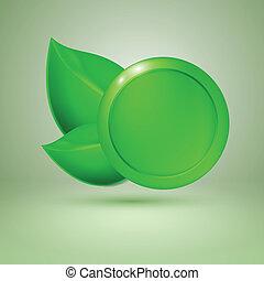 text., twee, leaves., groene, plek, etiket