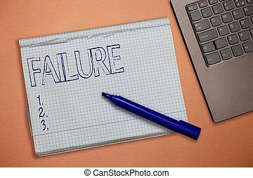 text, underteckna, visande, failure., begreppsmässig, foto, försumma, eller, omission, expected, nödvändig, handling, brist, av, framgång