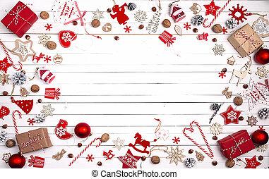 text, utrymme, utsmyckningar, boards., karamell, bakgrund, trä, jul, röda vita