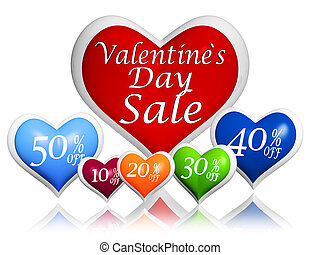 text valentines day sale and different percentages rebate in 3d hearts banners, seasonal business concept