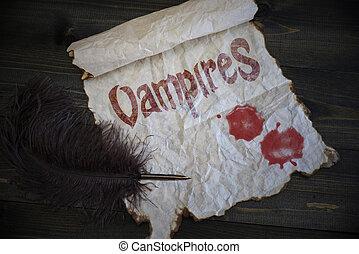 Text vampires and blood drops on vintage paper with old pen on the wooden texture desk