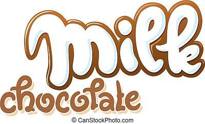 text, vektor, dojit, ilustrace, čokoláda