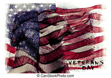 text veterans day and flag of the US, double exposure