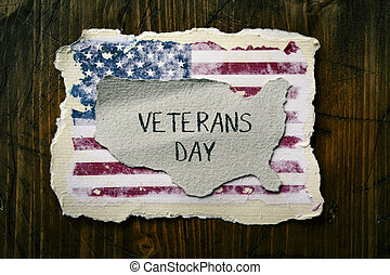 text veterans day and flag of USA