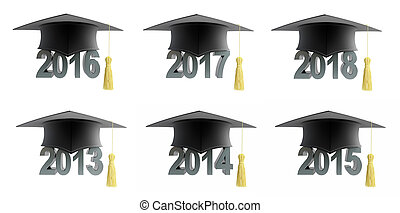 text with graduation hat set on a white background 3D illustration
