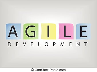 Text with post it notes for agile development software