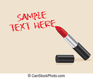 Illustration of text made with red lipstick on beige background, vector illustration