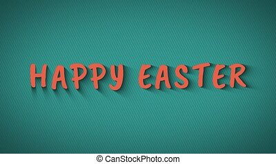 Text with shadows 'Happy Easter'. Orange text on blue background