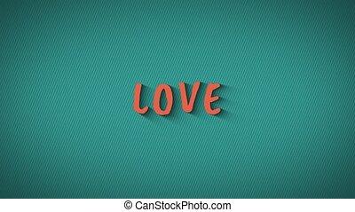 "Text with shadows ""Love"" - Text with shadows 'Love'. Orange..."