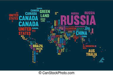 Text world map country name typography design