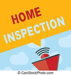 text, zeichen, ausstellung, daheim, inspection., begrifflich, foto, prüfung, von, der, bedingung, von, a, daheim, verwandt, eigenschaft