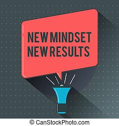 text, zeichen, ausstellung, neu , mindset, neu , results., begrifflich, foto, rgeöffnete, zu, gelegenheiten, nein, grenzen, denken, größer