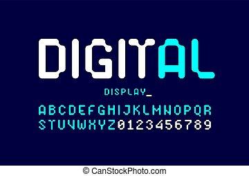 textanzeige, digital, stil, schriftart