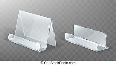 textanzeige, glas, plastik, stehen, halter, acryl, oder
