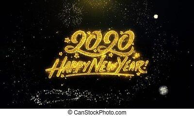 textanzeige, gold, glücklich, jahr, neu , geschrieben, partikeln, 2020, feuerwerk, explodieren