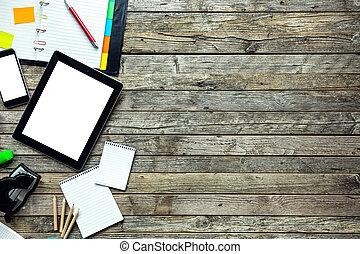 textanzeige, hüfthose, tablette, buero, leer