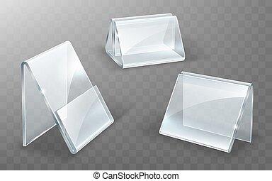textanzeige, oder, glas, plastik, acryl, stehen, halter