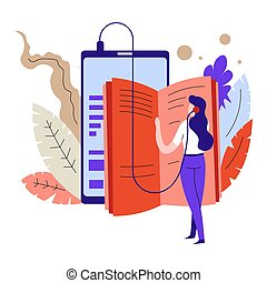 Textbook or literature audio book headphones or earphones...