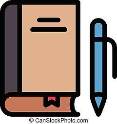 textbook vector line colour icon