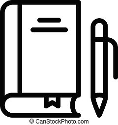 textbook vector thin line icon