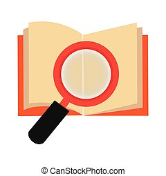 textbook with magnifying glass library isolated icon vector...