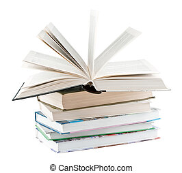 Textbooks and one open textbook on white background