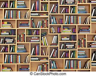 textbooks, concept., boekjes , opleiding, bookshelf.