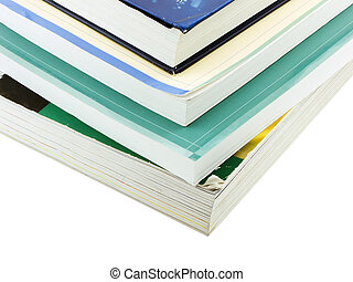 Photo of a stack of textbooks isolated on white
