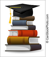 Six textbooks and graduation cap as symbol of graduation. Editable vector illustration.