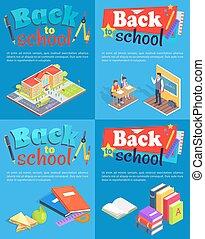 texte, école, dos, collection, affiches