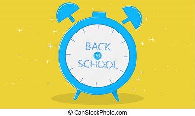 texte, école, reveil, dos, horloge