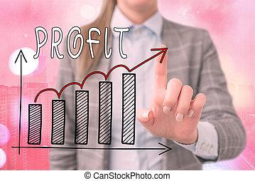 texte, économies, intérêts, ventes, levée, concept, reussite...