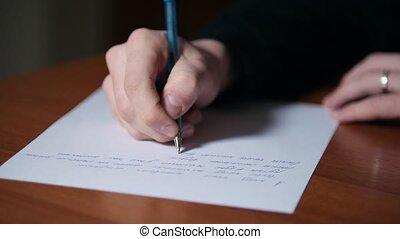 texte, écrit, -, haut, main, stylo, papier, fin, homme