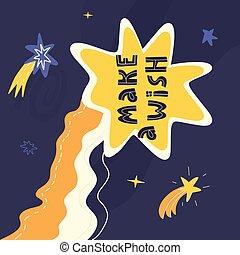 texte, étoiles, carte, extérieur, salutation, space., heureux, souhait, lettrage, faire, anniversaire, baissé, design., dessiné, main